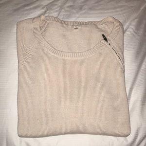 J. Crew Cream Sweater with Zipper Detailing